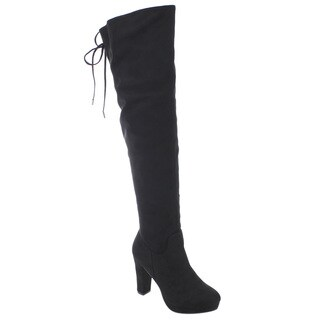 Bella Marie AD59 Women's Drawstring Block Heel Over-the-knee Boots