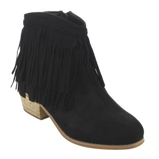 Bella Marie AD52 Women's Fringe Side Zipper Block Heel Ankle Booties