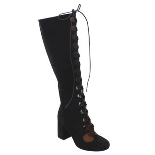 Bella Marie Women's AD54 Lace-up Chunky Heel Knee-high Boots