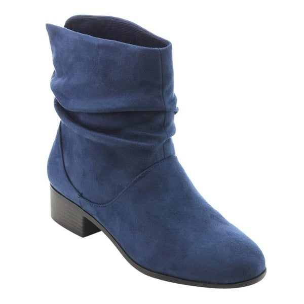 Womens Faux Suede Low Block Heel Pull On Ankle Boots