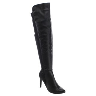 Breckelle's Women's Black Faux-leather and Fabric Knee-high Stiletto Boots