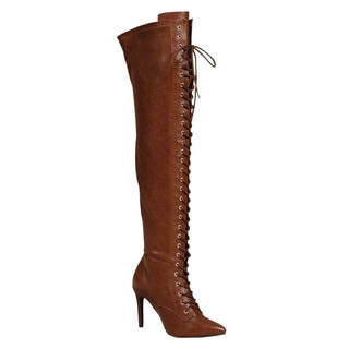 Breckelle's ED27 Women's Thigh High Lace-up Zip Stiletto High Heel Boots
