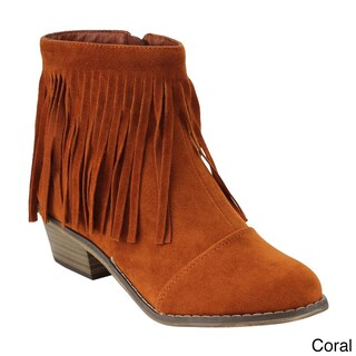 Breckelle's Women's ED31 Faux Suede Fringe Side Zipper Stacked Chunky Ankle Booties (2 options available)
