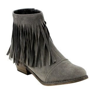 Breckelle's Women's ED31 Faux Suede Fringe Side Zipper Stacked Chunky Ankle Booties