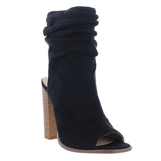 Liliana GD70 Women's Black Faux Suede Slouch Collar-back Cutouts Stacked-heel Booties
