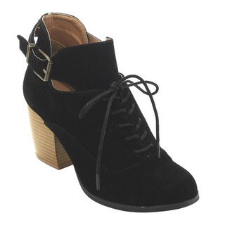 Qupid Women's Black Faux-suede Chunky Stacked-heel Ankle Booties