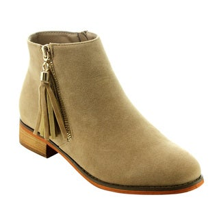 Liliana Women's GD96 Fringed Zipper Low-heel Ankle-high Faux Suede Casual Booties