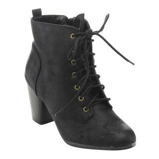 Qupid FD10 Women's Faux-leather Distressed Lace-up Stacked Chunky Heel Ankle Booties