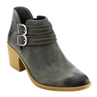 Qupid Women's Faux Leather Distressed Double Buckle Ankle Booties