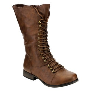 Forever GE09 Women's Mid-calf Lace-up Low-heel Zip-up Combat Boots