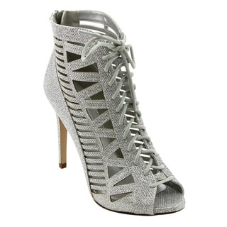 Paprika FD28 Women's Faux Leather Glitter Caged Corset Lace-up Stiletto Heel Dress Sandal