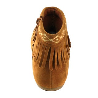 Betani Girls' FE23 Embroidered-fringe Mocassin-style Low-heel Ankle Booties