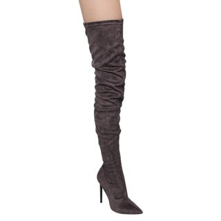 Liliana Women's Faux Leather Pointy Toe Drawstring Thigh High Stiletto Boots