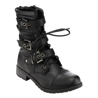 Forever Women's GE11 Mid-calf Buckle Strap Lace-up Deco Combat Boots