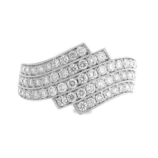 Azaro 18k White Gold 7/8ct TDW Five-Row Curved Diamond Fashion Band