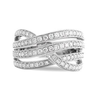 Azaro 18k White Gold 5/8ct TDW Curved Diamond Fashion Band