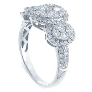 Azaro 18k White Gold 1 5/8ct TDW Oval Halo Diamond Cluster Fashion Band (G-H, SI1-SI2)