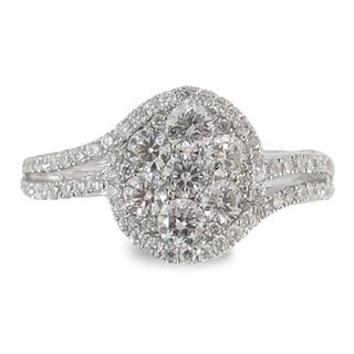 Azaro 18k White Gold 7/8ct TDW Oval Halo Diamond Cluster Fashion Band (G-H, SI1-SI2)