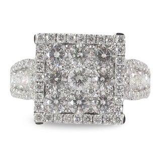 Azaro 18k White Gold 2ct TDW Square Halo Diamond Cluster Fashion Band (G-H, SI1-SI2)