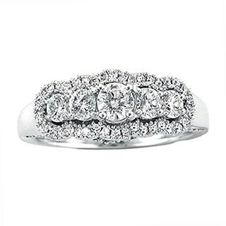 Elora 14k White Gold 1 1/10ct TDW Diamond 5-stone Vintage Engagement Ring (H-I, I1-I2)