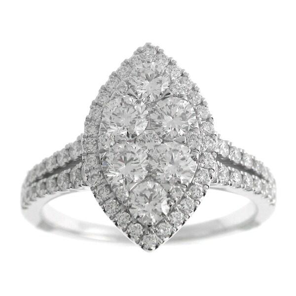 91c9944af8 Azaro 18k White Gold 1 1/2ct TDW Split Shank Marquise Halo Diamond Cluster  Fashion