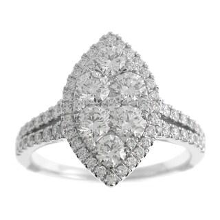 Azaro 18k White Gold 1 1/2ct TDW Split Shank Marquise Halo Diamond Cluster Fashion Band (G-H, SI1-SI2)
