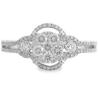 Azaro 18k White Gold 2 1/3ct TDW Oval Halo Diamond Cluster Fashion Band (G-H, SI1-SI2)