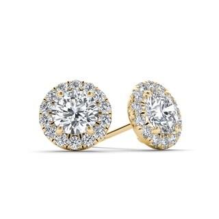 De Couer 10k Yellow Gold 1ct TDW Diamond Halo Stud Earring