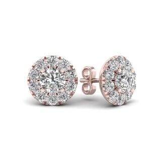 De Couer 10k Rose Gold 1ct TDW Diamond Halo Stud Earring (H-I, I2)
