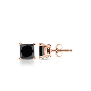 Auriya 14k Gold 1/2ct TDW 4-Prong Basket Push-Back Princess Cut Black Diamond Stud Earrings