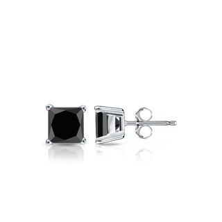 14k Gold 1/2ct TDW Princess Cut Black Diamond Stud Earrings by Auriya