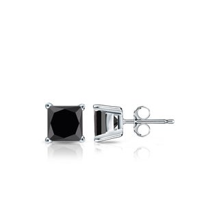 14k Gold 1/2ct TDW Princess Cut Black Diamond Stud Earrings by Auriya