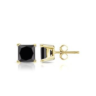 Auriya 14k Gold 3/4ct TDW 4-Prong Basket Push-Back Princess Cut Black Diamond Stud Earrings