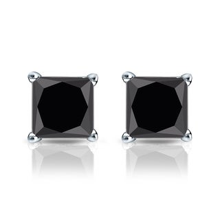 Auriya 14k Gold 1 1/2ct TDW 4-Prong Basket Push-Back Princess Cut Black Diamond Stud Earrings