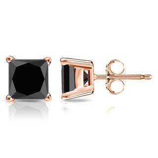 Auriya 14k Gold 2ct TDW 4-Prong Basket Push-Back Princess Cut Black Diamond Stud Earrings