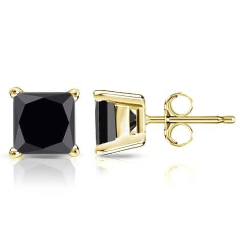 Auriya 2ctw Princess-cut Black Diamond Stud Earrings 14k Gold