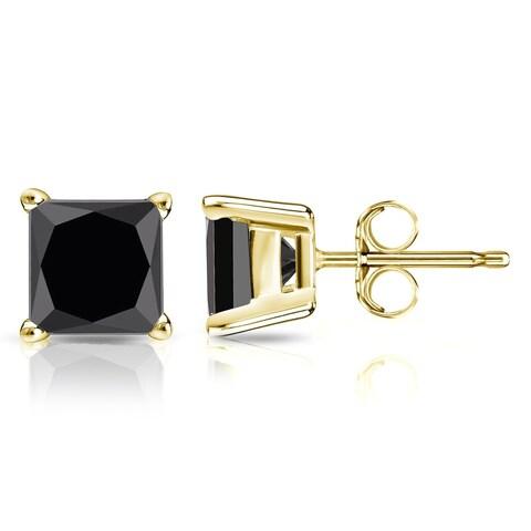 Auriya 14k Gold 2 carat TDW Black Princess Cut Diamond Stud Earrings