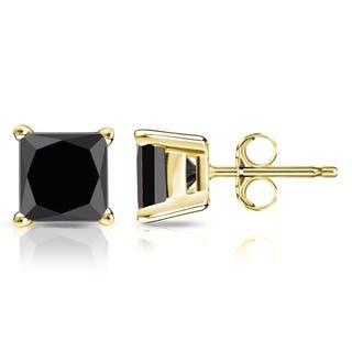 Auriya 14k Gold 2ct TDW Princess-Cut Black Diamond Stud Earrings https://ak1.ostkcdn.com/images/products/12640186/P19431143.jpg?impolicy=medium