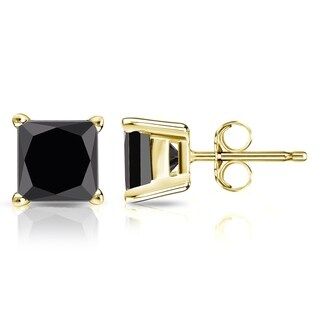 Auriya 14k Gold 2 carat TDW Black Princess Cut Diamond Stud Earrings