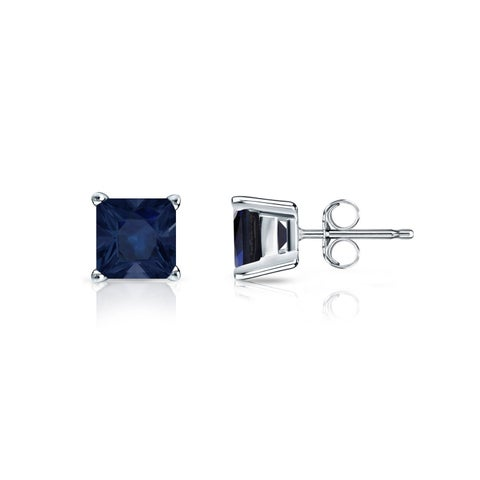 Auriya 14k Gold 1/2ct Princess- Cut Blue Sapphire Stud Earrings