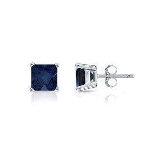 Auriya 14k Gold 1/2ct 4-Prong Basket Push-Back Princess-Cut Blue Sapphire Gemstone Stud Earrings