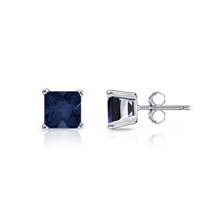 14k Gold Solitaire Princess-Cut 1/2ct Blue Sapphire Stud Earrings by Auriya