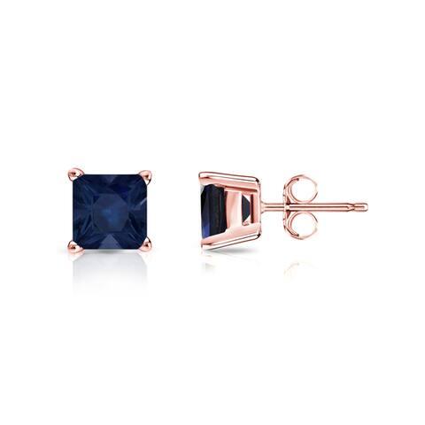 Auriya 3/4ct Princess Cut Blue Sapphire Stud Earrings 14K Gold