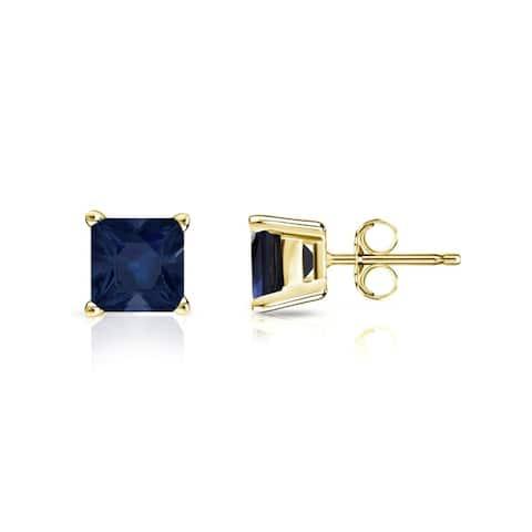 Auriya 14k Gold Princess-cut Sapphire Stud Earrings 3/4ct TGW