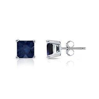 14k Gold Solitaire Princess-Cut 3/4ct Blue Sapphire Stud Earrings by Auriya