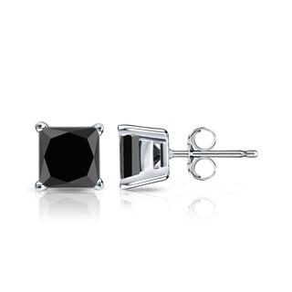 Auriya 14k Gold 1 1/4ct TDW 4-Prong Basket Push-Back Princess Cut Black Diamond Stud Earrings