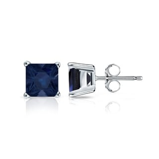 Auriya 14k Gold 1 1/4ct 4-Prong Basket Push-Back Princess-Cut Blue Sapphire Gemstone Stud Earrings