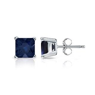 14k Gold Solitaire Princess-Cut 1 1/4ct Blue Sapphire Stud Earrings by Auriya