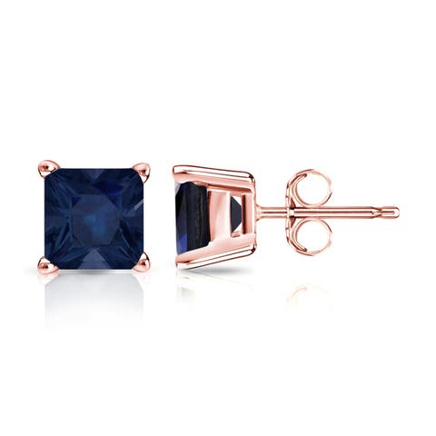Auriya 1 1/2ct Princess Cut Blue Sapphire Stud Earrings 14K Gold