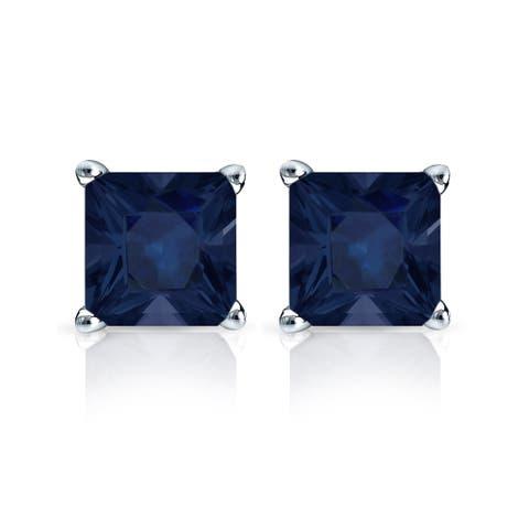 Auriya 14k Gold Princess-cut Sapphire Stud Earrings 1 1/2ct TGW